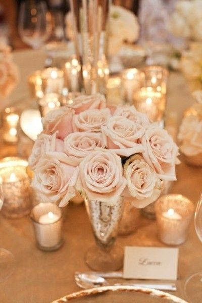 Blush and gold wedding tablescape