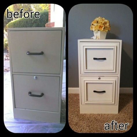 Diy filing cabinet makeover used epoxy to attac