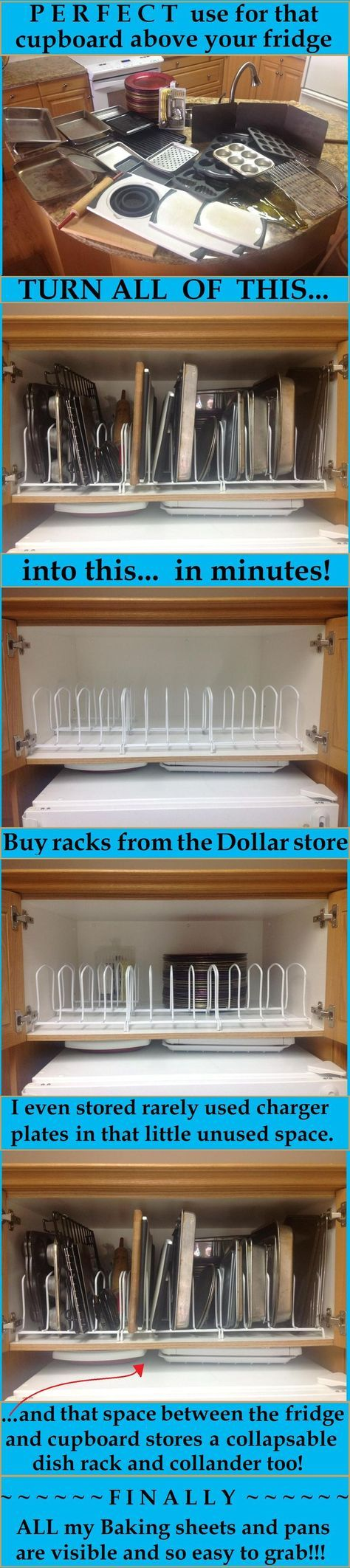 Dollar store dish racks to separate the pans an