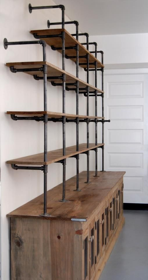 Gas pipe shelf and reclaimed wood would be