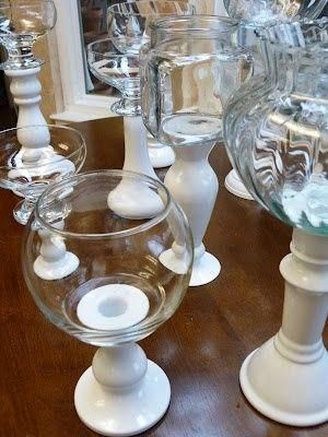 Glue a bowl plates and candlestick holder