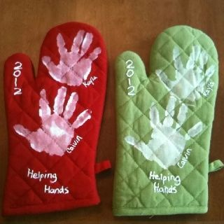 Hand print oven mitts