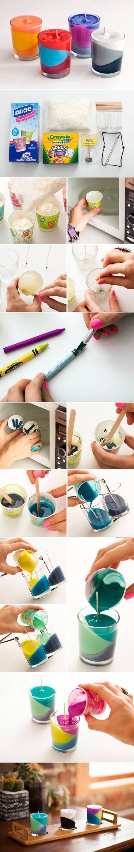 How to make multi color candle step by step di