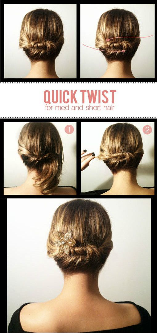 Quick twist updo for short hair