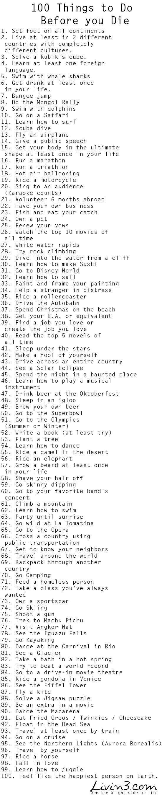 Things to do before i die bucket list live you
